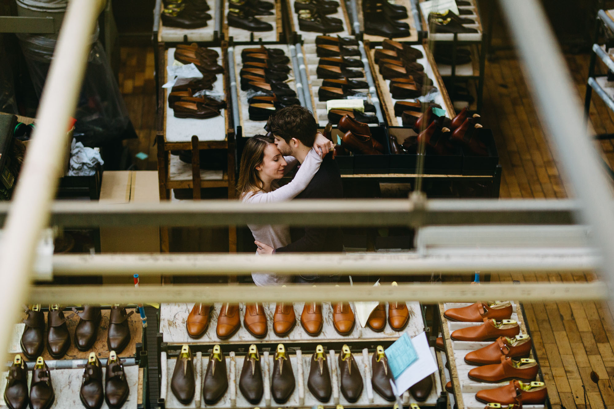 engagement photos in the crocket and jones factory